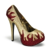 TEEZE-27 Gold/Red Glitter